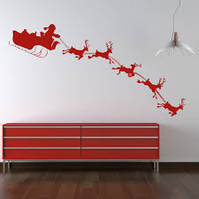 christmas wall stickers iconwallstickers co uk santa with sleigh silhouette christmas wall stickers seasonal decor art decals