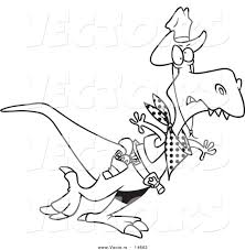 vector of a cartoon cowboy tyrannosaurus rex coloring page