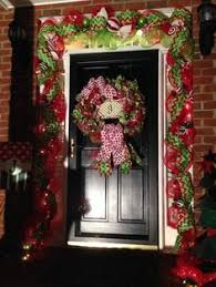 mesh garland around our front door whimsical door