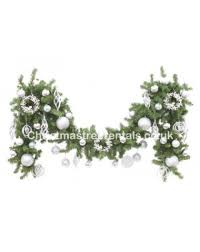 white and silver garlands decore