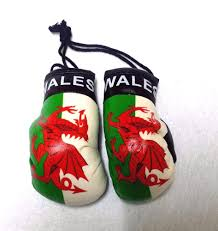 wales soccer team mini boxing gloves car auto mirror hanging