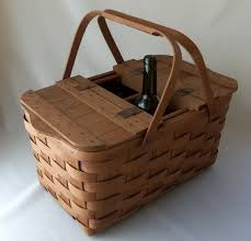 vintage picnic basket vintage split wood wine picnic basket omero home