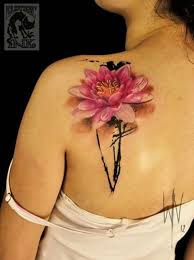 3d pink lotus flower tattoo on left back shoulder by wiliam