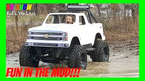 4 year old kid driving the mini monster truck fun outdoor