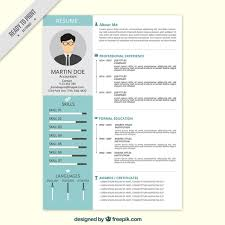 professional resume in flat style vector free download