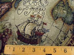 magellan old world map tapestry upholstery fabric color jewel