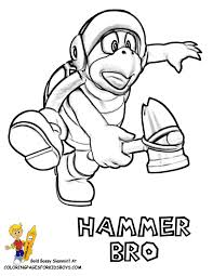 mario bros hammer colouring pages coloring