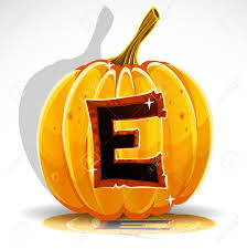 happy halloween font cut out pumpkin letter e royalty free