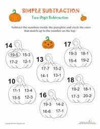 simple subtraction pumpkins worksheet education com