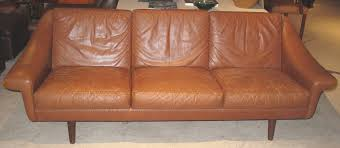 danish modern leather sofa with stitching detail for sale at 1stdibs