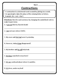 contractions in sentences worksheet contractions worksheet