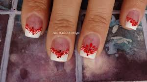 wedding french manicure guest nail art design red and white live