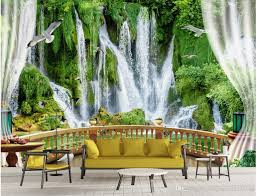 floating waterfall balcony with three dimensional backdrop mural 52