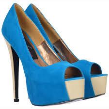 onlineshoe two tone suede peep toe high heels concealed platform