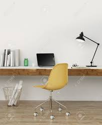 elegant minimal white home office with yellow chair stock photo