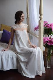 wedding sleepwear silk bridal nightgown with lace f2 bridal by apilat on zibbet