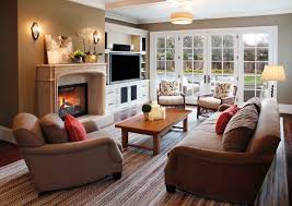 Craftsman Entertainment Centers With Wood Trim Family Room - Family room entertainment