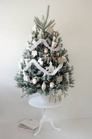 small white christmas tree silver and white color decorated christmas tree decorating