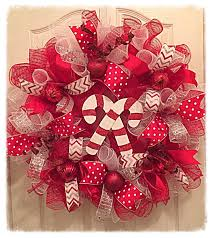 candy cane deco mesh wreath christmas wreath red silver and