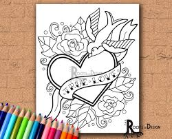 instant download coloring tattoo style true love heart