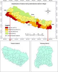 Map Of Nepal And India Classification Of Malaria Risk Districts In Nepal And Study