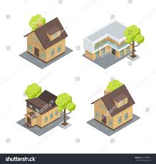 Types Of House Designs Different Types Houses There Cottages Trees Stock Vector 475333084