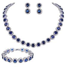 blue cubic zirconia necklace images Silver tone round cut cubic necklace set pricestage jpg