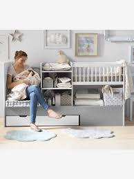 vertbaudet chambre bébé lit bébé 4 en 1 evolunid blanc gris clair vertbaudet