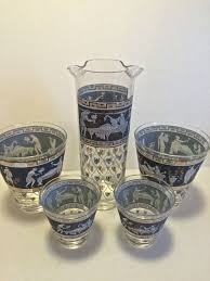 martini rock vintage greek revival wedgwood blue and gold martini pitcher and