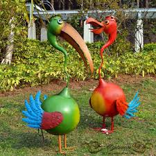 home garden decor pelican birds lawn ornaments statues green