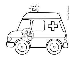 ambulance car transportation coloring pages for kids printable
