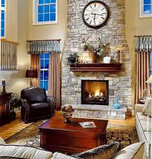 is livingroom one word family room fireplace and clock on