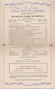 table d hote menu menu chicago lander s restaurant table d hote dinners 1945