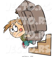 Couch Cartoon Vector Of A Determined Cartoon Boy Moving A Couch Up Stairs By