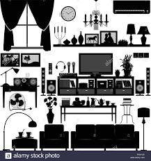 home interior vector living room furniture home interior design stock vector