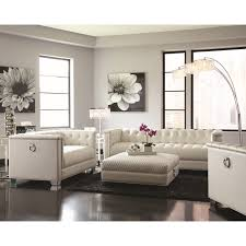 chaviano low profile pearl white tufted sofa 505391 silver state