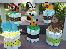 1 jungle theme mini diaper cake baby shower centerpiece 6 75
