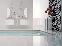 decorations white modern interior bathroom come with monochrome white modern interior bathroom come with monochrome abstract accent wall decal and floating 5