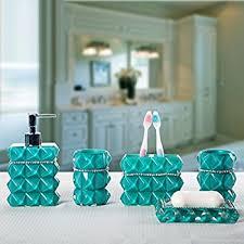 Blue Glass Bathroom Accessories Amazon Com Brandream Luxury Bathroom Accessories Elegant Resin