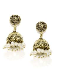 antique gold jhumka earrings rubans antique gold toned white beaded jhumka earrings