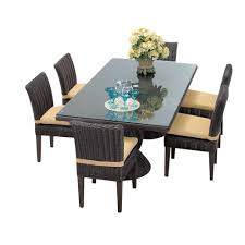 Wicker Dining Room Furniture Tk Classics Venice 7 Piece Wicker Dining Set With Cushions