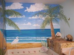 Bathroom Mural Ideas by Beach Bathroom Pictures Gray Ceramic Backsplash Built In Bench