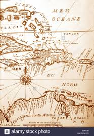 Map Of Caribbean handwritten ancient map of caribbean basin from the book of 1678
