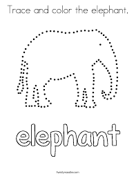 trace and color the elephant coloring page twisty noodle