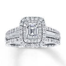 www jared engagement rings jared engagement ring 1 1 2 ct tw emerald cut 14k white gold