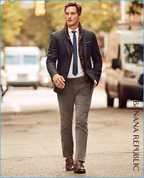 ollie edwards ventures outdoors wearing banana republic s grey plaid blazer with corduroy pants a