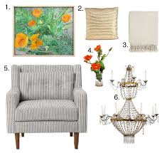 design muse july 2013 turner throw home decorators club 34 4 faux poppy arrangement joss main 5 crosby armchair west elm 749 799 6 period empire chandelier 1stdibs