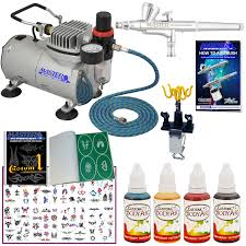 deluxe airbrush tattoo kit 4 comp hose airbrush ink stencil