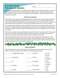 the secret garden context clues worksheets for 4th and 5th grade