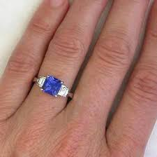 tanzanite wedding rings cushion tanzanite ring with baguette diamonds in 14k white gold
